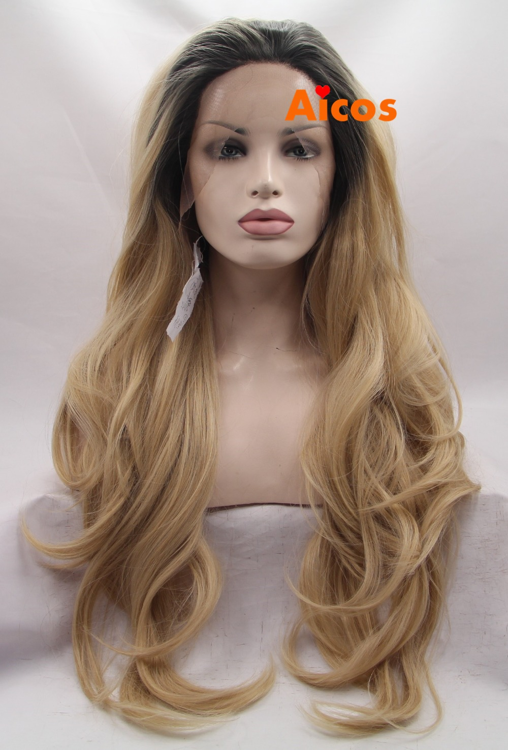 Wholesale Premium Blonde Ombre Wig Dark Root Long Natural Body Wave Wigs Brazilian Hair Synthetic Lace Front Wig Heat Resistant<br><br>Aliexpress