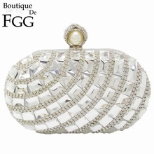 Dazzling Crystal Pearl Clasp Silver Evening Wedding Party Cocktail Handbags For Women Clutches Purse Metal Hardcase Bridal Bag