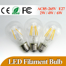 Hot Sale LED Bulb E27 Screw Base 2w 4w 6w LED Filament Bubs Lights 360 Degrees Global Tube Lamp Warm Cool White LED Light