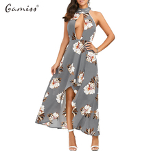 Gamiss 2017 Backless Floral Pattern Sexy Deep V-neck Maxi Dress Halter Neck Hollow Out High-low Hem Asymmetrical Dress vestidos