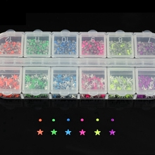 6 Color 2 Design Round Pentagram 3D Nail Art Studs Supplies Charms Nails Wheel DIY Decorations ZP069