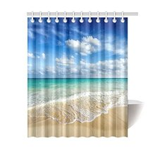 Beach Ocean Theme Shower Curtain, Wavy Ocean Surface Scenery Polyester Fabric Mildew Resistan(China)
