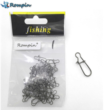 Rompin 50pcs nice Snap Fishing Barrel Swivel Safety Snaps Hooks Fishhook Fishing Tackle Box Accessory tool lures(China)
