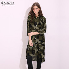 ZANZEA Women 2017 Summer Casual Loose Knee Length Dress Sexy Turn Down Collar Half Sleeve Camouflage Print Long Tops Shirt