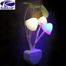 GBKOF Colorful Light Sensor Sensitive LED Night Light Mushroom Flower Plant Potted night light 220V For bedroom wall Decoration