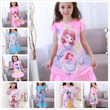 3-12Y Girls Nightgown children clothing cotton long sleeved pajamas Cute kids Homewear Nightdress Clothes Princess Dress DNS02