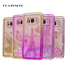 Soft TPU Phone Case For Samsung Galaxy S8 Plus Plating shell Case Dynamic Liquid Glitter Quicksand Back Cover for Samsung S 8