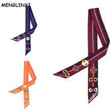 MENGLINXI 2017 Luxury Brand Striped Twill Small Silk Scarf For Women Smiling Face Print Headband Handle Bag Ribbon Long Scarves
