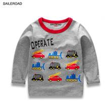 SAILEROAD Cartoon Vehicle Print Toddler Baby Boys Girls T Shirt Autumn Spring 2017 Children Kids Long Sleeved Shirts For Cotton(China)