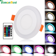 Ultra Slim 3/6/12/18W Round Concealed Dual Color LED Panel Light Cool White Lamp Acrylic Downlight AC 110 220V