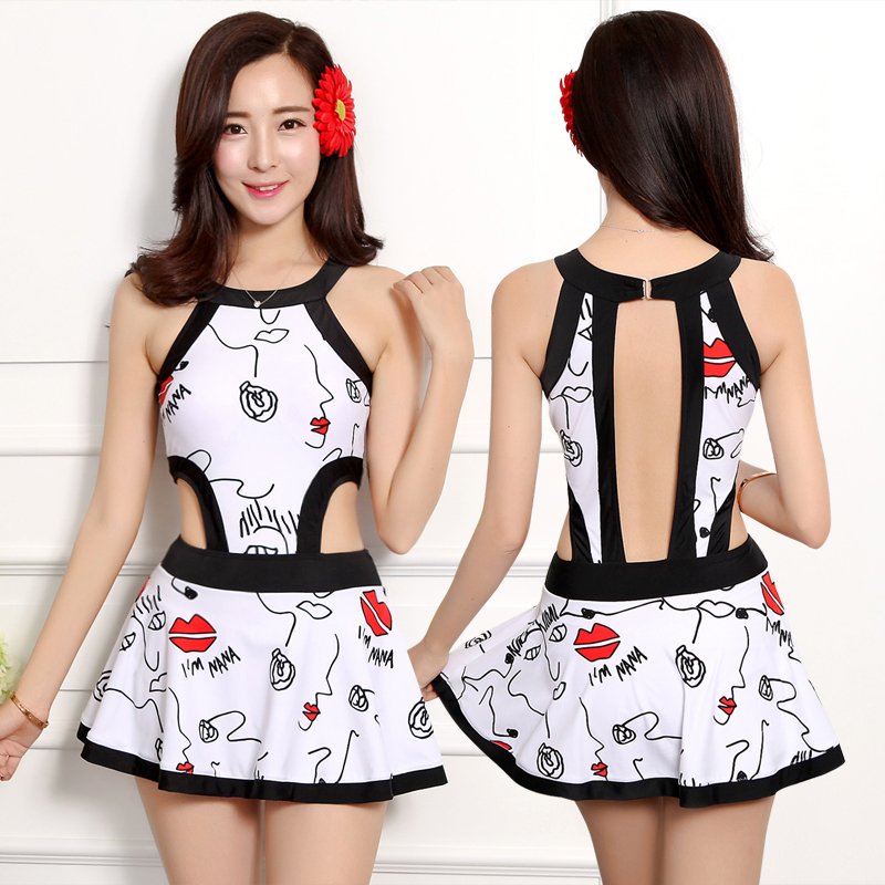 New Romantic Print Cover belly skirt female Women One Pieces Swimsuit Siamese Push up steel support With pad Slimming Backless <br>