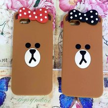 Cartoon Cute Lovely Bow Knot Brown Sister Silicon Cover for Apple iPhone 5S SE 6 6S 6S Plus Rubber case for iPhone 7 7 Plus(China)