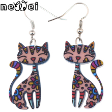 Newei Drop Cat Collar Dangle Long Earrings Acrylic Pattern New Arrival Charm Girl Woman Jewelry Accessories Fashion Earrings(China)