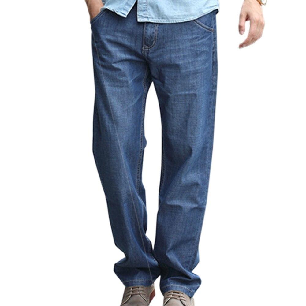 Men Casual Lightweight Loose Straight Plus Size High Quality Jeans Relaxed Stretch Work Denim Pants BlueÎäåæäà è àêñåññóàðû<br><br>