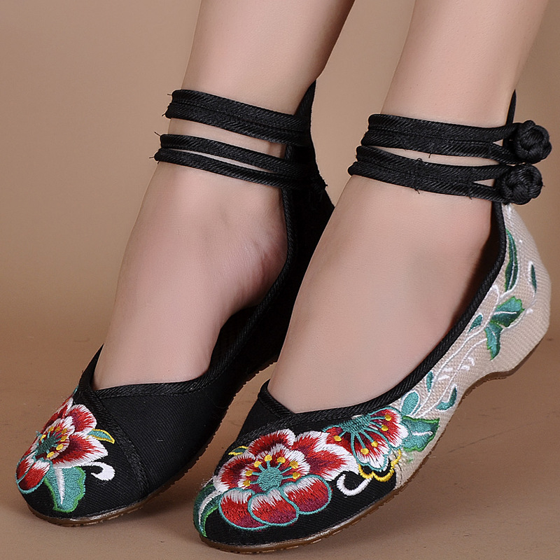 Fashion Womens Shoes Old Peking Mary Jane Flat Heel Denim Flats with Embroidery Soft Sole Casual Shoes Plus Size SMYXHX-0052<br><br>Aliexpress