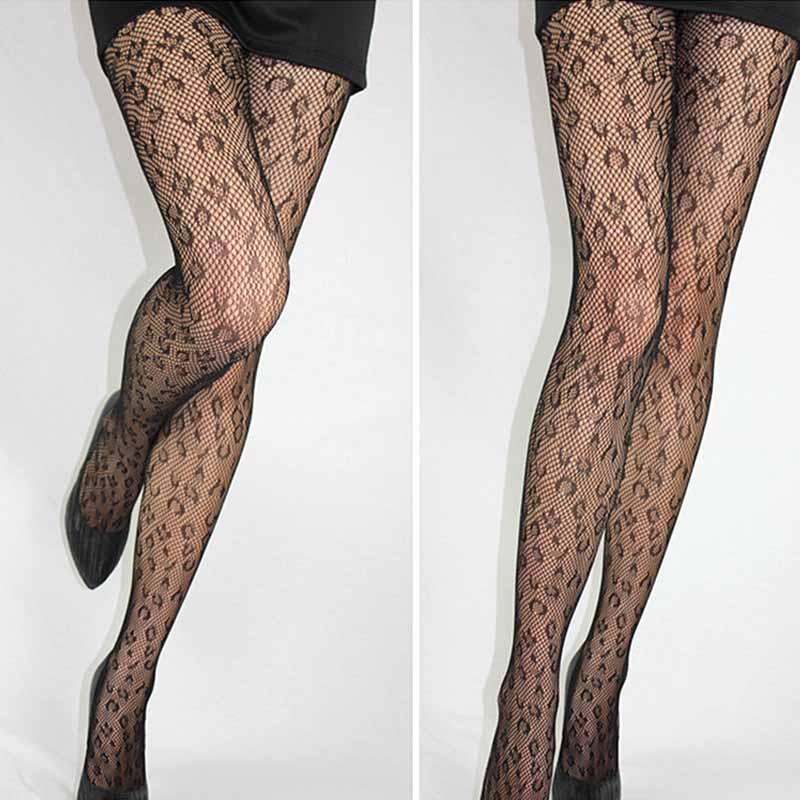 Sexy Women's or Girls, Core Wire Jacquard Club Panties, Knitting Net Thin Pattern Tattoo Fishnet Stockings 1