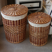 Home Storage Organization Handmade Woven Wicker cattail Laundry Hamper Storage Baskets with Lid panier de rangement organizador(China)