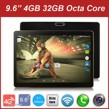 Free Shipping 9.6 inch 3G 4G Lte Tablet PC Octa Core 4G/32GB Dual SIM Card Android 5.1 5MP GPS 1280*800 IPS Tablet PC 7 9 10""