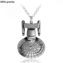 Free Shipping star wars Star Trek Enterprise Model pendant Spacecraft Necklace Metal statement Necklace For Men Accessories(China)