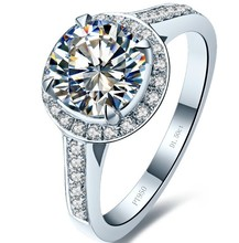Factory Directly Selling 1 Carat Round Cut Halo Style Excellent Band Clarity VVS1 NSCD LC Diamond Engagement Ring(China)