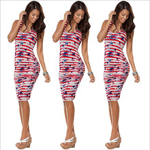 American Flag Print Women Summer Bodycon Dress 2017 Independence Day O-Neck Sleeveless Ladies Casual Beach Dresses Vestidos CM