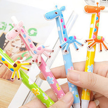 Cute Cartoon Ball Pens Plastic Kawaii Stationery Fancy Giraffe Pen School Supplies Gifts Cute Novelty Items Random Delivery(China)