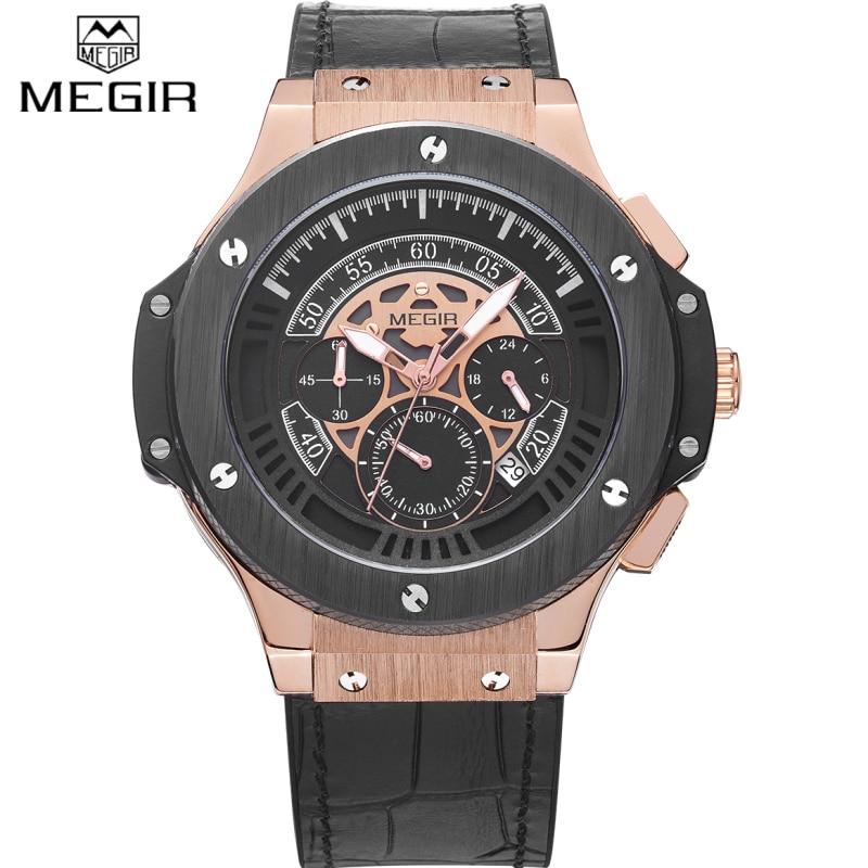 2017 MEGIR Watches Men Luxury Brand Big Dial Quartz Wrist Watch Male Sports Army Military Watches Gold Chronograph Clock man<br>