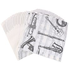 20pcs/lot Home Musical Instrument Table Napkins Cup Mat Black Creative Party Dinner Paper Tissue Decoration Wholesale(China)