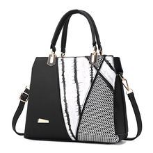 Sac Femme Women Brand New Design Handbag Black And White Stripe Tote Bag Female Shoulder Bags High Quality PU Leather Purse(China)