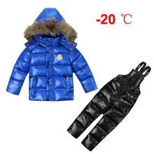 Russia Winter Snowsuits Overalls Down Cotton Jackets For Girls Kids Clothes Boys Coats Outerwear Set Jacket Skiing Suits -20