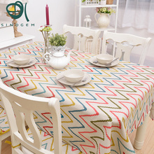 Cotton&Linen Pope Cloth Tablecloths Mediterranean Fresh Wave Pattern Table Tablecloth Tea Table Cloth Mantel