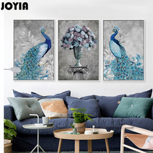 Peacock And Flowers Wall Art Canvas Retro Home Decor Painting 3 Piece Peahen European Style Pictures For Living Room No Frame