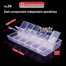 Organizer Box Storage 12 compartments for DIY Home work Nail Art Jewelry beads Crafts portable container case(China)
