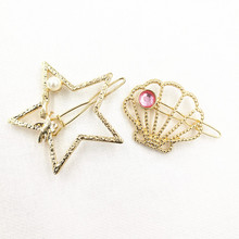 Timlee H046 Free shipping Grace Fashion Star Shell Hair Clip Barrettes Girls Lovely Hair Accessary Gift