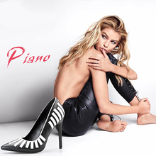 Pink Palms autumn women high heels shoes black classic pointed toe narrow band decoration wedding party elegant pumps