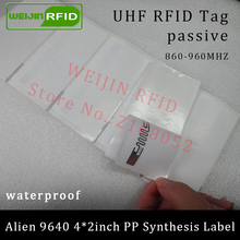UHF RFID tag sticker Alien 9640 PP synthetic label 915mhz 900mhz 868mhz Higgs3 EPCC1G2 6C smart adhesive passive RFID tags label(China)