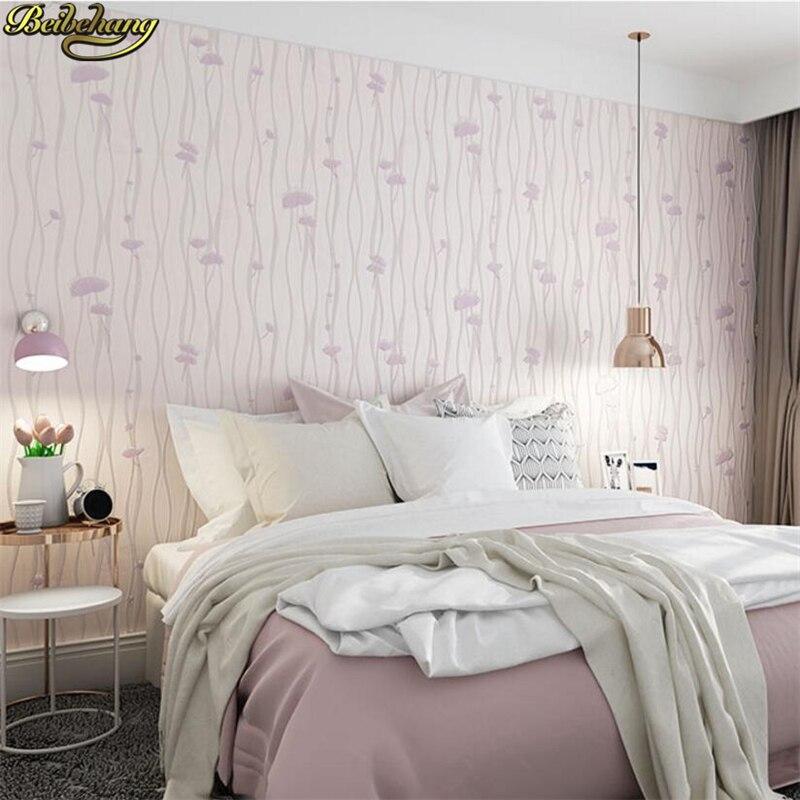 beibehang Pastoral wallpaper plain bedroom living room background wall paper 3d three-dimensional papel de parede stripes<br>
