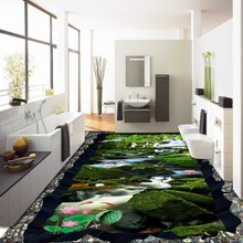 Free Shipping Forest Falls Crane Carp huge 3D floor painting thickened self-adhesive living room bathroom bedroom flooring mural(China)