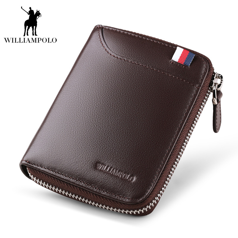 2017 NEW European and American Style Men Wallet Short Purse Luxury Male Genuine Leather Wallet Men Zipper Male Purse Men EA0227<br>