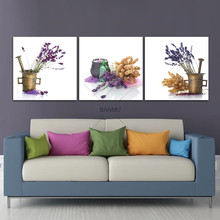 BNAMU Wall Art Pictures 3 Pieces Modern Prints Floral Artwork Purple Lavender Print to Photos Printed Paintings on Canvas Decor(China)