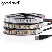 Goodland USB LED Strip Light DC 5V USB LED Tape SMD 3528 LED Ribbon 50cm 1m 2m 3m 4m 5m Flexible Light TV Background Lighting