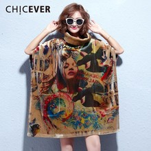 CHICEVER Winter Vitage Print Dress Female Batwing Sleeve Loose Big Size High Collar Women Dresses Of Big Size Clothes Fashion(China)