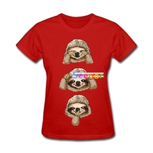 Women No Evil Sloth T-Shirt Sites Great Oversize Funny Sloth {tshirt woman Basic Tee Cheap Sale(China)