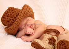 Free Shipping Handmade Crochet baby cowboy hat and boots newborn caps snow booties Photography Props baby hat and booties