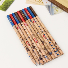12 pieces/set Cute Soldier Wooden Hexagonal Bar 2B Pencil Standard Pencil for Drawing Painting Stationery Supplies