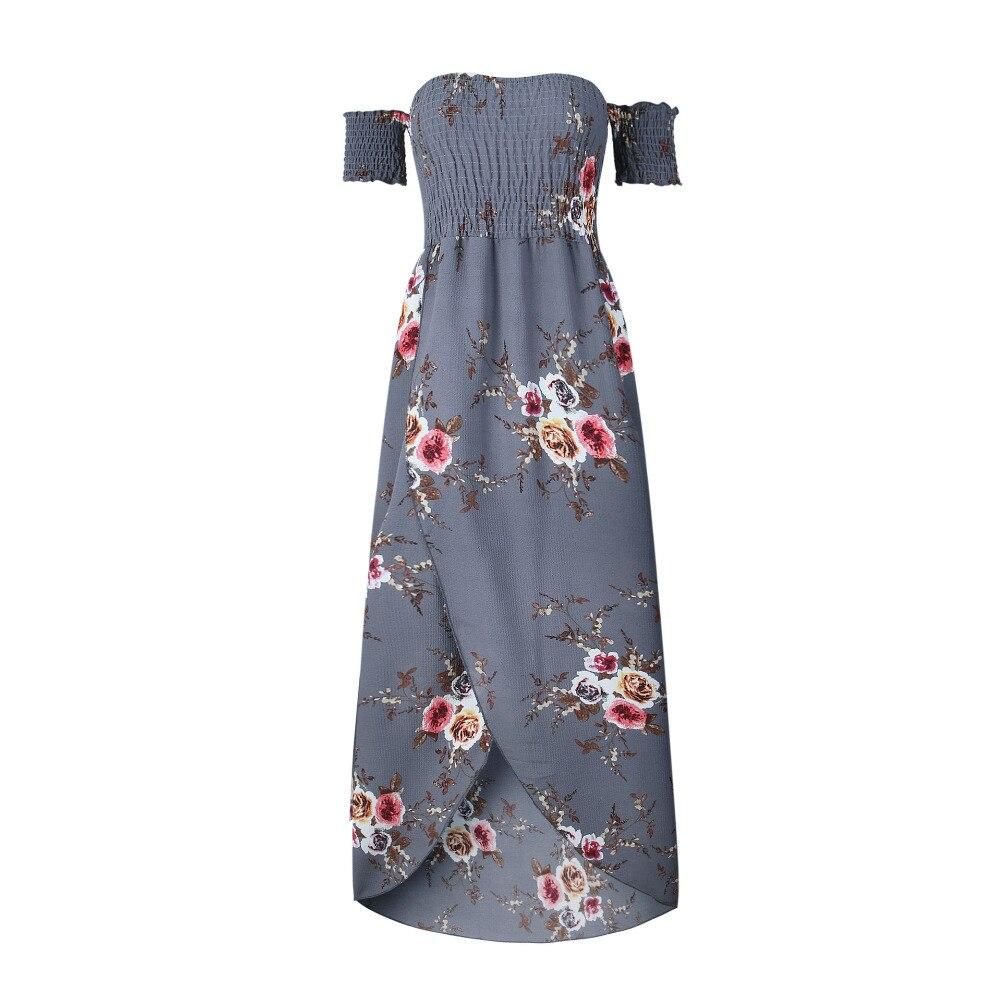 LOSSKY Off Shoulder Vintage Print Maxi Summer Dress 1