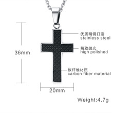 2 Pcs/lot Couple Women Mens Lovers' Jewelry Pendants Necklaces Inlaid Carbon Fiber Cross Stainless Black Gold Polished Chain 383(China)