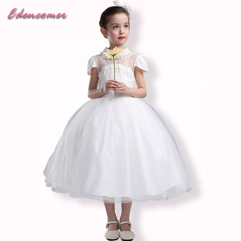 Spring Autumn Party Dresses Vestidos 2017 Childrens Temperament Dress Tutu Ball Gown White Lace Pearls Girls Princess Dress<br>