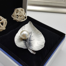 Hot Fashion Antique Silver Plated Leaf Shape Vintage Brooches Classic Style Grey Imitation Pearl Pin Brooch Jewelry For Women
