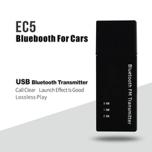 New Arrival USB EC5 Bluetooth by FM Transmitter for Car Home Music Phone with Mic 5 Colors(China)